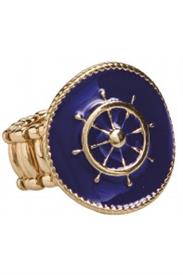 _GOLD & BLUE SHIP'S WHEEL STRETCH RING.