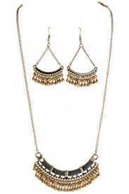 _TWO TONE ARCH & DANGLES NECKLACE & EARRING SET