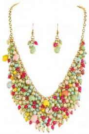 _BRIGHTLY BEADED BIB NECKLACE & EARRING SET