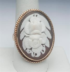14K YELLOW GOLD CAMEO RING SIZE 9, 14 GRAMS OF GOLD GROSS WEIGHT