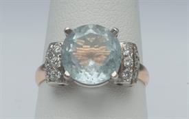 14K YELLOW GOLD, AQUAMARINE DIAMOND RING 5 GRAMS GROSS WEIGHT SIZE 8