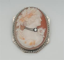 14K YELLOW GOLD, SHELL CAMEO BROOCH 1.7 INCHES LONG 11 GRAMS GROSS WEIGHT
