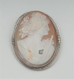 10K WHITE GOLD, SHELL CAMEO BROOCH 2 INCHES LONG 13 GRAMS GROSS WEIGHT