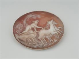 9K YELLOW GOLD, SHELL CAMEO BROOCH 2 INCHES LONG 11 GRAMS GROSS WEIGHT