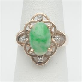 14K YELLOW GOLD, JADE AND DIAMOND RING 6 GRAMS GROSS WEIGHT SIZE 5.5