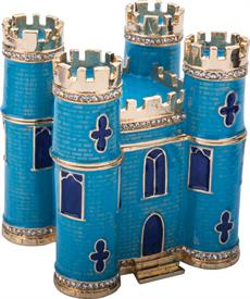 ",-$Classic Castle Box Blue Cobalt & light blue enameling with Austrian Crystals 3.75"" by 3.5"" length by 3"" width by Artist Greg Arbutine-Nic"