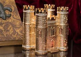 ",-$Classic Castle box Gold Enameling with Austrian Crystals 3.75"" tall by 3.5"" length by 3"" width by Artist Greg Arbutine - Stunning Piece!"