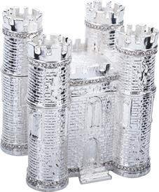",-$Classic Castle Box Silver Enameling with Austrian Crystals 3.75"" tall by 3.5"" length by 3"" width made by Artist Greg Arbutine - Striking!"