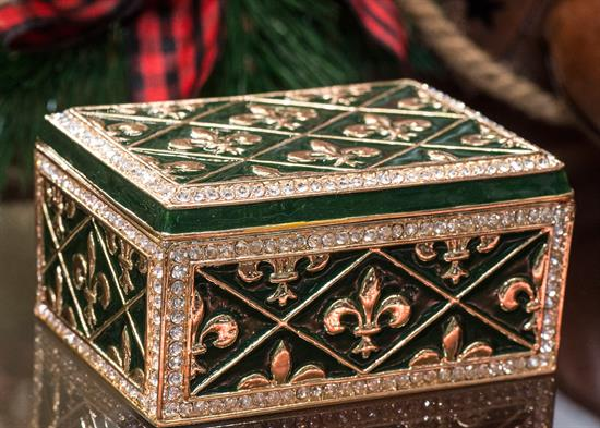 """Greg Arbutine ,$Fleur De Lis Box - Emerald Green enameling with Austrian Crystals 4"""" long by 2.75"""" wide by 2"""" tall made by Artist Greg Arbutine           - Year Made   2016"""