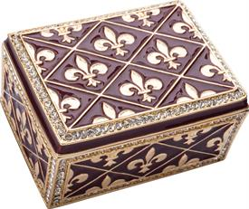"-$Fleur De Lis Box - Burgundy Enameling with Austrian Crystals 4"" long by 2.75"" wide by 2"" tall made by Artist Greg Arbutine"