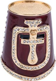 ",_$Knights Helmet Box Burgundy enameling and Austrian Crystals 2.75"" tall by 2.75"" across at bottom made by Artist Greg Arbutine"