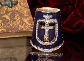 ",_$Knights Helmet Box Navy blue enameling with Austrian Crystals 2.75"" tall by 2.75"" across made by Artist Greg Arbutine"