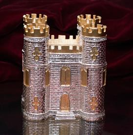 "-,$Classic Castle Box Silver with Gold Accents Adorned in Austrian Crystals 3.75""H by 3.5""L by 3""W by Artist Greg Arbutine - Year Made 2016"
