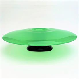 """,UNDOCUTMENTED EXPERIEMENTAL DESIGNED UNSIGNED JADEITE CONSOLE BOWL W/STAND 12.5""""D X 2.5""""T ON STAND"""