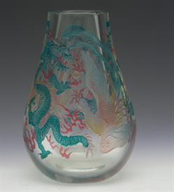 ",SANDBLAST ETCHED STUDIO ART GLASS VASE WITH AIRBRUSHED ENAMELING. FEATURING AN ASIAN DRAGON & PHOENIX MOTIF. UNKNOWN MAKER. 7.2"" TALL"