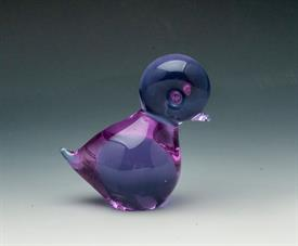 "FM KONSTGLAS RONNEBY SWEDISH ART GLASS PAPERWEIGHT. 'PIPPI' THE CHICK IN LAVENDER. 4"" TALL"
