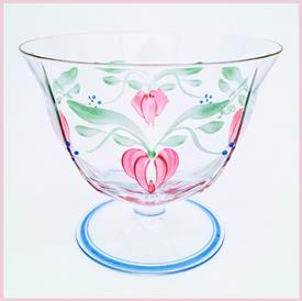 """,ORREFORS 'MAJA' HAND PAINTED FOOTED BOWL. SIGNED BY ARTIST EVA ENGLUND. 4.2"""" TALL, 5"""" WIDE. CA 1978-2006"""
