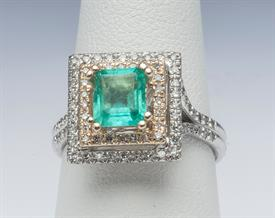 14K WHITE GOLD, EMERALD AND DIAMOND RING 6 GRAMS GROSS WEIGHT SIZE 7