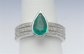 14K WHITE GOLD, 1.24 CARAT EMERALD AND .52 CARAT DIAMOND RING 9 GRAMS GROSS WEIGHT SIZE 7.5