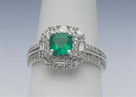 14K WHITE GOLD, .85 CARAT EMERALD AND .70 CARAT DIAMOND RING 5 GRAMS GROSS WEIGHT SIZE 7