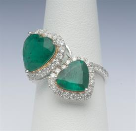 18K WHITE GOLD, 4.36 EMERALD AND .99 CARAT DIAMOND RING 5 GRAMS GROSS WEIGHT SIZE 6.75