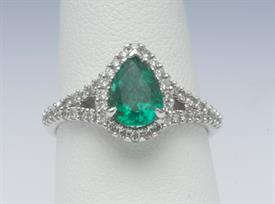 14K WHITE GOLD, 1.00 CARAT EMERALD AND .40 CARAT DIAMOND RING 3 GRAMS GROSS WEIGHT SIZE 7.25