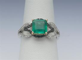 18K WHITE GOLD, 3.62 CARAT EMERALD AND .76  CARAT DIAMOND RING 4 GRAMS GROSS WEIGHT SIZE 6.75