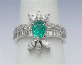 18K WHITE GOLD, 1.11 CARAT EMERALD AND 1.03 CARAT DIAMOND RING 6 GRAMS GROSS WEIGHT SIZE 7