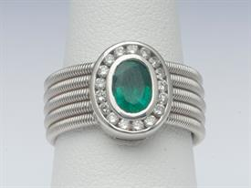 18K WHITE GOLD, 1.02 CARAT EMERALD AND.42 CARAT DIAMOND RING 12 GRAMS GROSS WEIGHT SIZE 7