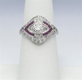 14K WHITE GOLD, RUBY AND DIAMOND RING 4 GRAMS GROSS WEIGHT SIZE 6.25