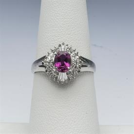 PLATINUM, RUBY, AND DIAMOND RING 6 GRAMS GROSS WEIGHT SIZE 6.5