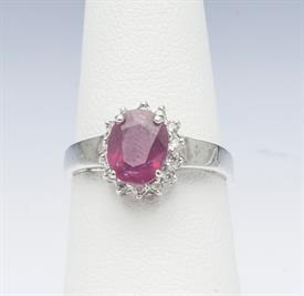 14K WHITE GOLD, RUBY AND DIAMOND RING 2 GRAMS GROSS WEIGHT SIZE 5.5