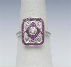14K WHITE GOLD, RUBY AND DIAMOND RING 3 GRAMS GROSS WEIGHT SIZE 6.25