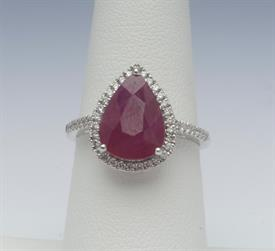 18K WHITE GOLD, 3.75 CARAT RUBY AND .31 CARAT DIAMOND RING 5 GRAMS GROSS WEIGHT SIZE 6.5