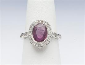14K WHITE GOLD, RUBY AND DIAMOND RING 5.5 GRAMS GROSS WEIGHT SIZE 6.75