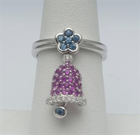 18K WHITE GOLD, SAPPHIRE, DIAMOND, AND RUBY RING 6 GRAMS GROSS WEIGHT SIZE 6.75