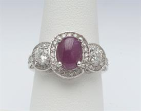 14K WHITE GOLD, 1 CARAT DIAMOND 2.25 CARAT RUBY RING 5 GRAMS GROSS WEIGHT SIZE 6.75