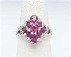 18K WHITE GOLD, RUBY AND DIAMOND RING 5 GRAMS GROSS WEIGHT SIZE 6.5
