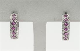 14K WHITE GOLD, RUBY AND DIAMOND EARRINGS 8 GRAMS GROSS WEIGHT
