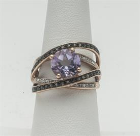 10K YELLOW GOLD, AMETHYST AND DIAMOND RING 6 GRAMS GROSS WEIGHT SIZE 7
