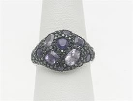 14K WHITE GOLD, AMETHYST AND DIAMOND RING 4 GRAMS GROSS WEIGHT SIZE 6.5