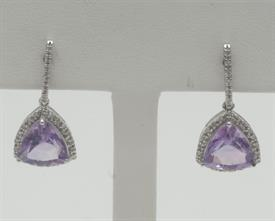 14K WHITE GOLD, DIAMOND AND AMETHYST EARRINGS 4 GRAMS GROSS WEIGHT