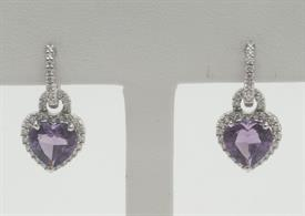 18K WHITE GOLD, AMETHYST AND DIAMOND EARRINGS 6 GRAMS GROSS WEIGHT
