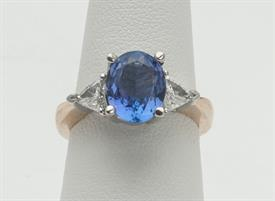14K YELLOW GOLD, 2.29 CARAT TANZANITE AND .46 CARAT DIAMOND RING 5 GRAMS GROSS WEIGHT SIZE 6.75