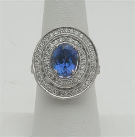 14K WHITE GOLD, 3.32 CARAT TANZANITE AND 1.78 CARAT DIAMOND RING 9 GRAMS GROSS WEIGHT SIZE 7.25