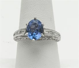 14K WHITE GOLD, 2.94 CARAT TANZANITE AND 1.00 CARAT DIAMOND RING 5 GRAMS GROSS WEIGHT  SIZE 8