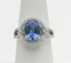 14K WHITE GOLD, 3.30 CARAT TANZANITE AND .35 CARAT DIAMOND RING 5 GRAMS GROSS WEIGHT SIZE 7.25