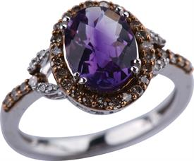 _WHITE GOLD AMETHYST RING WITH .50 CARAT CHOCOLATE DIAMOND WAS: $600