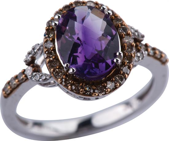 Miscellaneous WHITE GOLD AMETHYST RING WITH .50 CARAT CHOCOLATE DIAMOND WAS: $600                                                                         - Year Made   2016