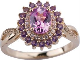 _14K YELLOW GOLD PINK SAPPHIRE RING WITH AMETHYST HALO WAS: $500